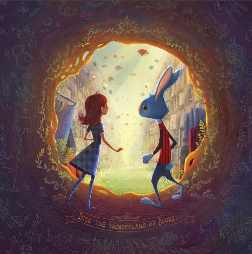 Alicia discovers the magic of the library (ilustración de Charles Santoso)