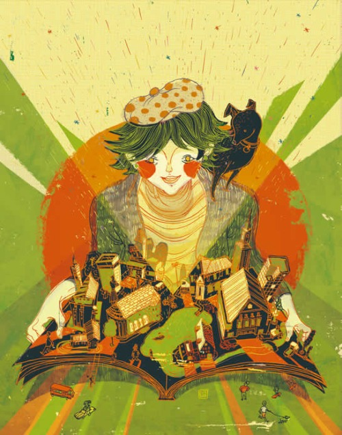 Books - a world to live (ilustración de Victo Ngai)
