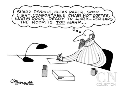 charles-barsotti-procrastinating-writer-writing-on-paper-about-his-writing-implements-and-h-new-yorker-cartoon