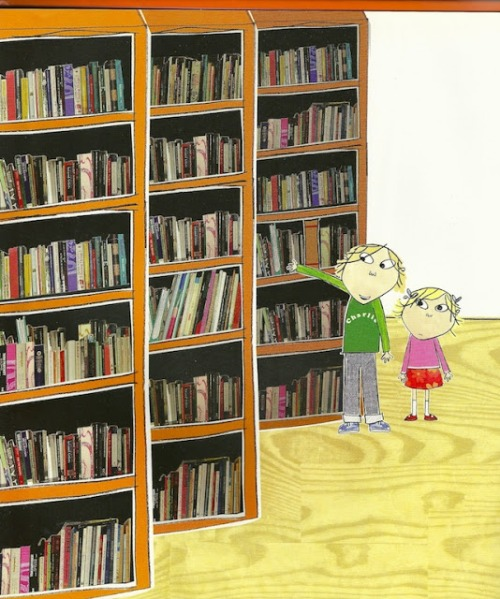 Choosing books in the library (ilustración de Lauren Child)