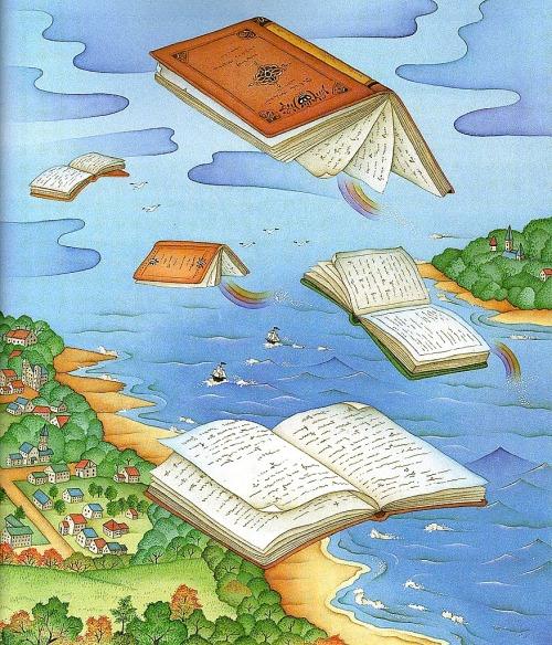 Flying books looking readers (ilustración de Chi Chung)