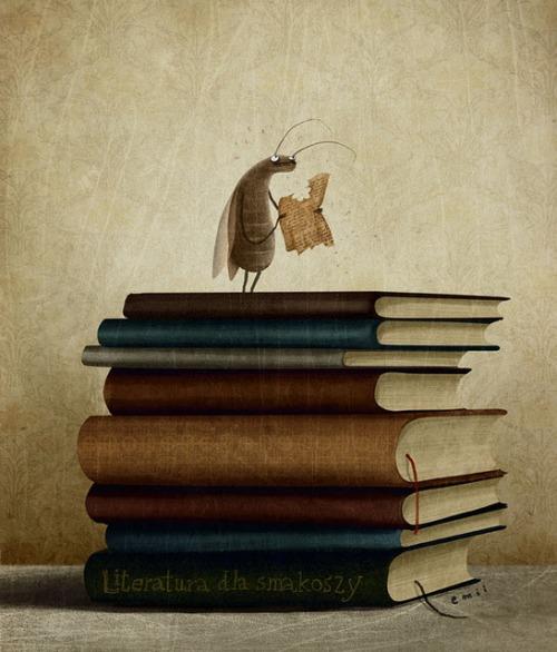 Reader or book worm (ilustración de Emilia Dziubak)