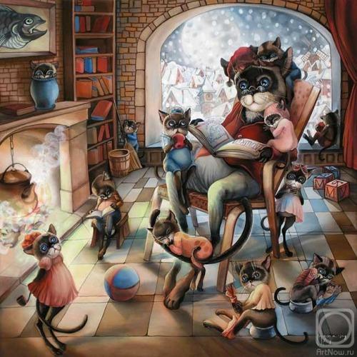 Readers cats (ilustración de Nadejda Sokolova)