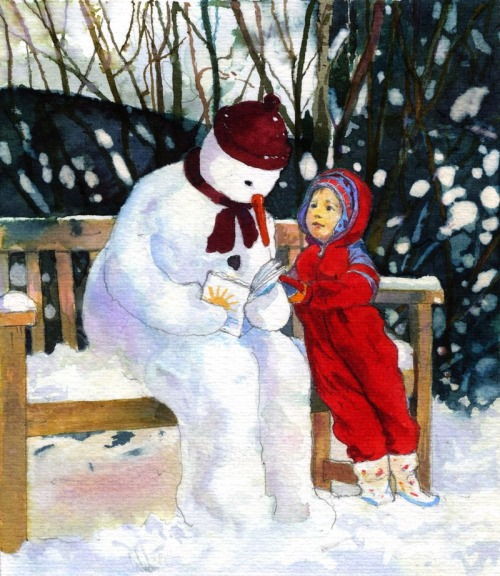 Reading with the snowman (ilustración de Frances McKay)