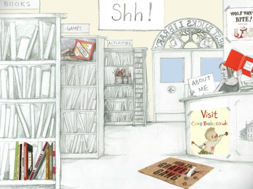 Shhh! We are in the library (ilustración de Emily Gravett)