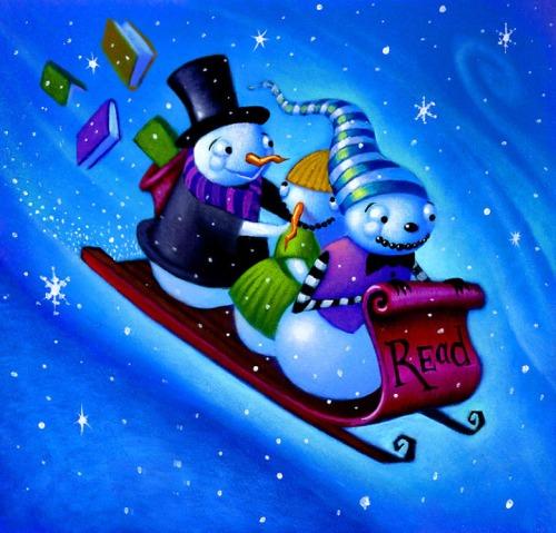 Snow, game and reading (ilustración de Will Terry)