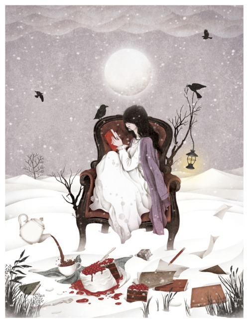 Winter reading (ilustración de Gobugi)