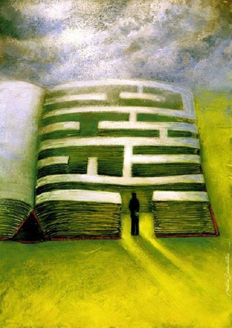 Each book has its maze  (ilustración de Marcin Bondarowicz)
