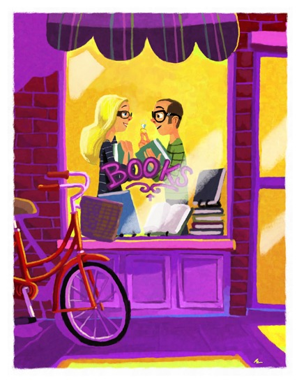 Encounter in the library - love (ilustración de Benoit Therriault)