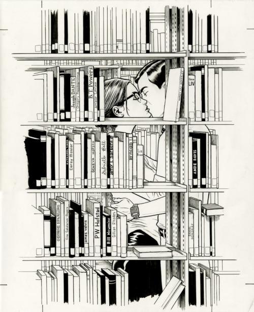 Love in library (ilustración de Jim Rugg)