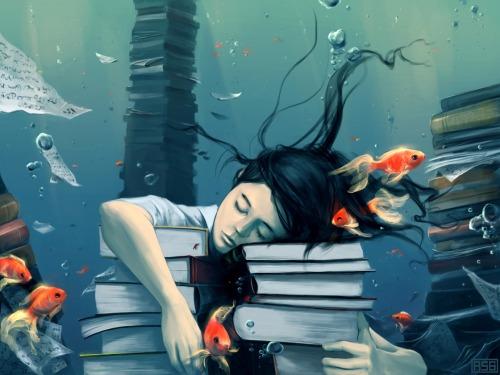 Dreaming reader (ilustración de Cyril Roland)