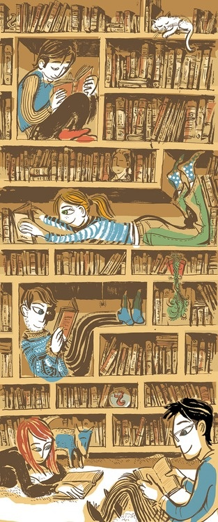 Reading between friends - illustration by Paul Hoppe