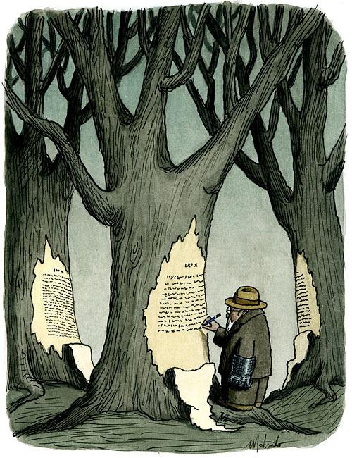Writing on the raw material (ilustración de Franco Matticchio)