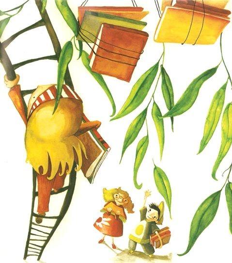 In April bloom books on trees (ilustración de Eva Garcés)