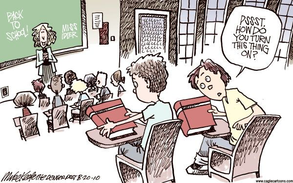 It's not an e-reader - Back to School cartoon by Mike Keefe