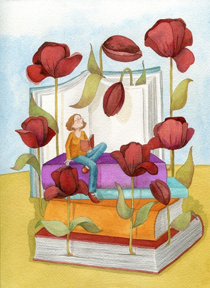 Spring flowers among the leaves - spring of books (ilustración de Mónica Carretero)