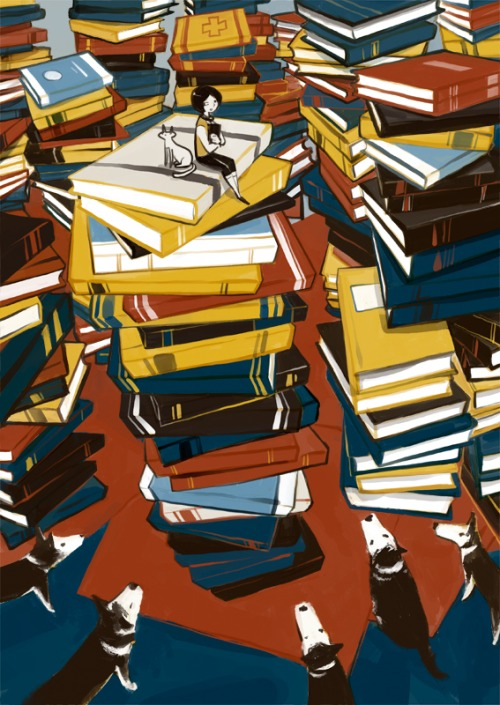 Among books in the library … where to start (autor desconocido)
