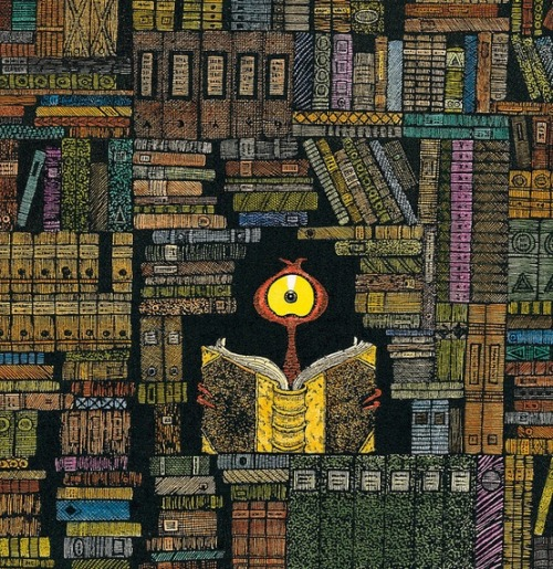 An alien in the library (ilustración de Lu Heaven)