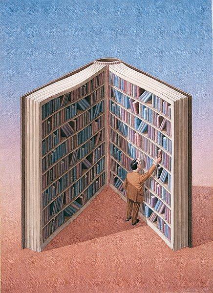 Book library (ilustración de Gurbuz Dogan Eksioglu)