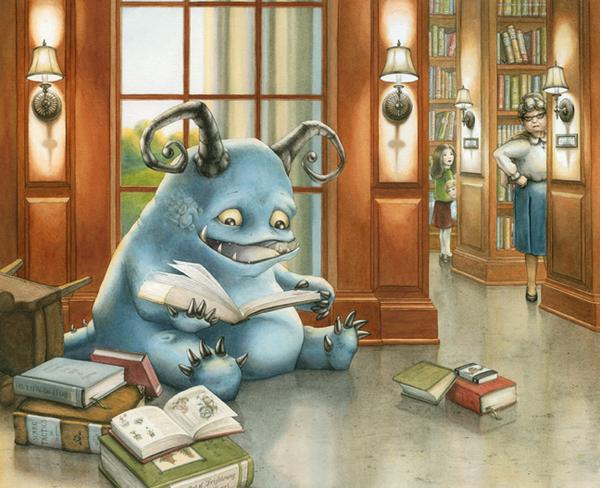 Monster in the library (ilustración de Bonnie Leick)