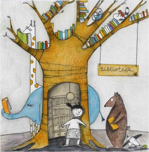 A forest, a library … books and readers (ilustración de Francesca Quatraro)