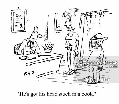 'He's got his head stuck in a book.'