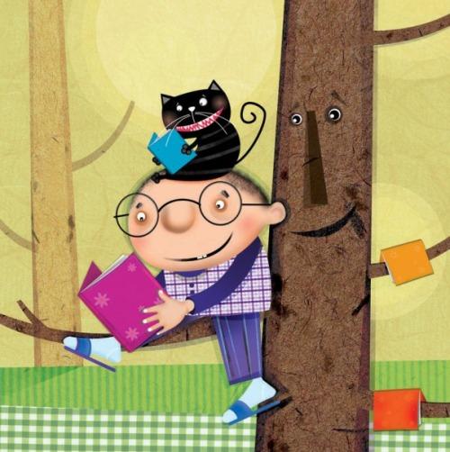 Readers - cat and kid (ilustración de Hadiseh Ghorban)