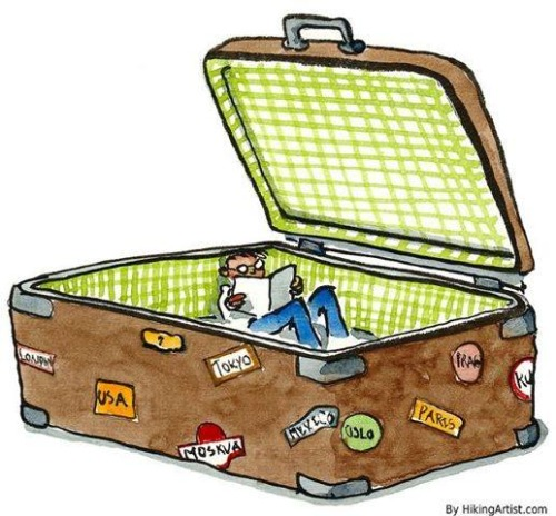 Traveling with reading (ilustracion de Hiking)