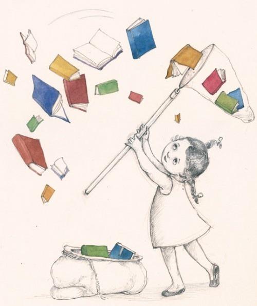 (Catching a good book - ilustración de Catalina Somolinos-Catilustre)