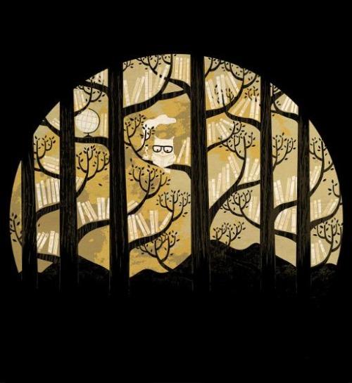Library in the woods (ilustración de Lim Heng Swee)