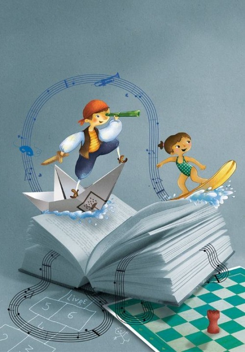 Navigating between reading (ilustración de Eugénie Varone)