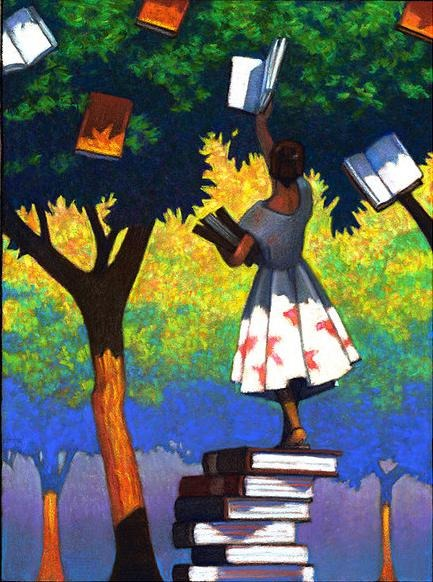 (Picking a good book - ilustración de Miles Hyman)