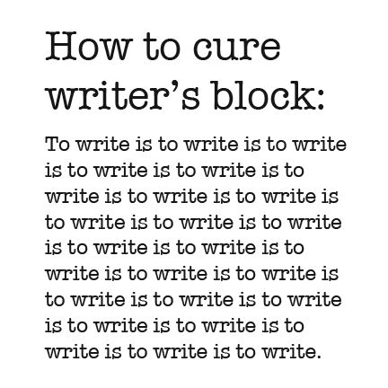 Remedy for writers block