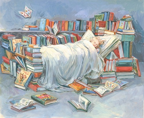 Sleeping with the books (ilustración de Claire Fletcher)