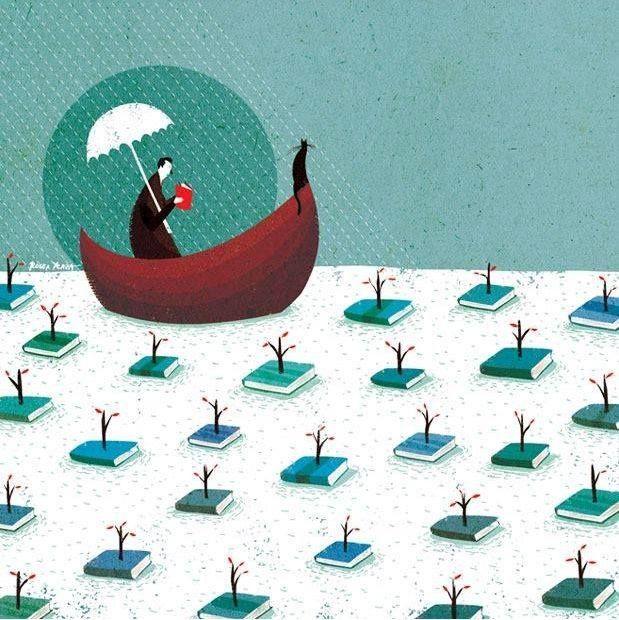 Navigating between books - illustration by Roger Ycaza