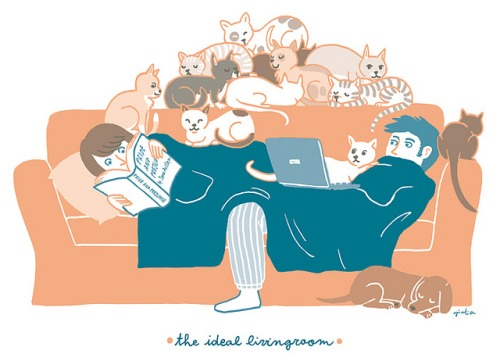 The ideal livingroom (ilustración de Giulia Sagramola)