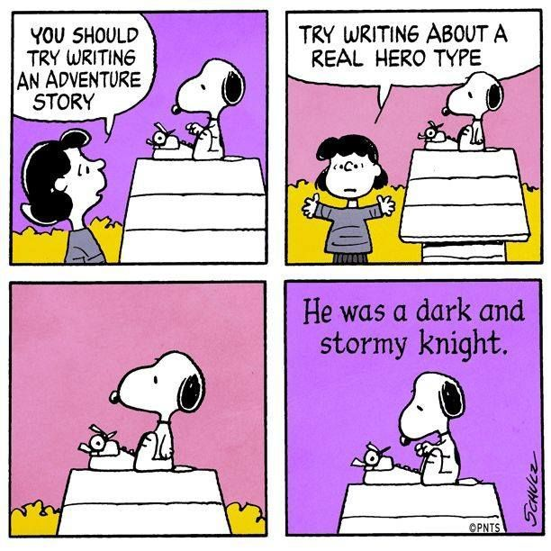 Snoopy writes an adventure story
