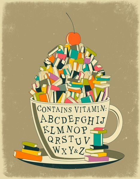 Books breakfast, vitamins for the mind (ilustración de Jazzberry Blue)