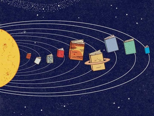 Books, planets in the universe (ilustración de Harriet Russell)
